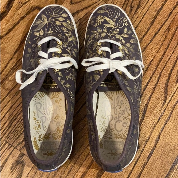 Keds Rifle Paper Co brown and gold